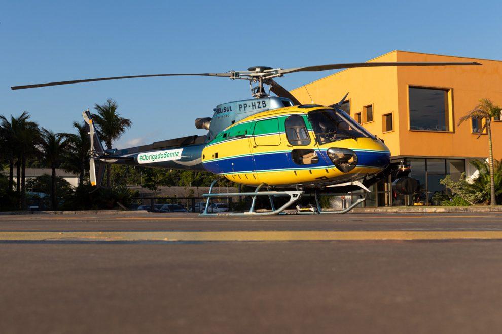 Helicóptero da Helisul em homenagem a Ayrton Senna